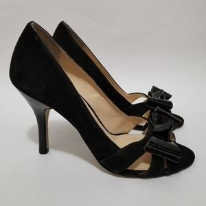 Enzo Angiolini Heels Bow Pumps Suede Leather Slide